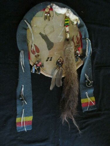 """NATIVE AMERICAN CEREMONIAL LEATHER SHIELD, PAINTED """"ANIMAL CLAN""""   SD-0621*05689"""