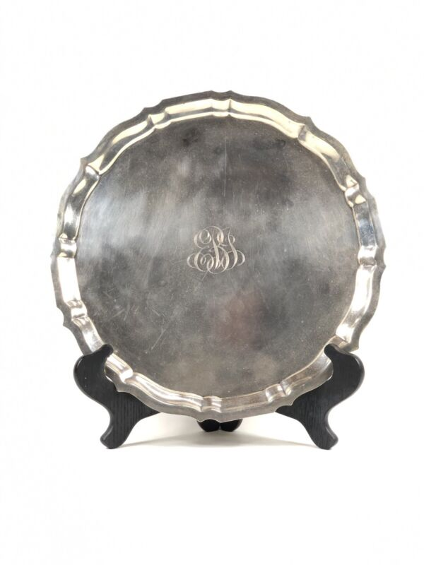ANTIQUE GORHAM CHIPPENDALE STERLING SILVER SCALLOP EDGE ROUND PLATTER TRAY 14""