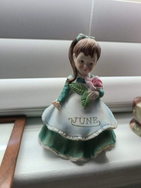 Vintage Geo. Z. Lefton June Month Flower Girl Hand Painted Birthstone Ceramic