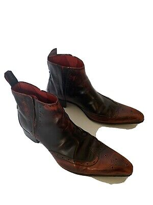 JEFFERY WEST Red Vintage LEATHER BOOTS SIZE 9 VGC Stunning