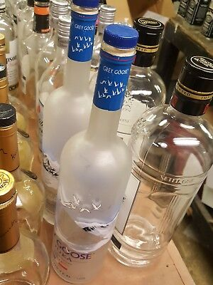 GREY GOOSE VODKA BOTTLE 1.75 liter EMPTY WITH CORK frosted glass  crafts arts