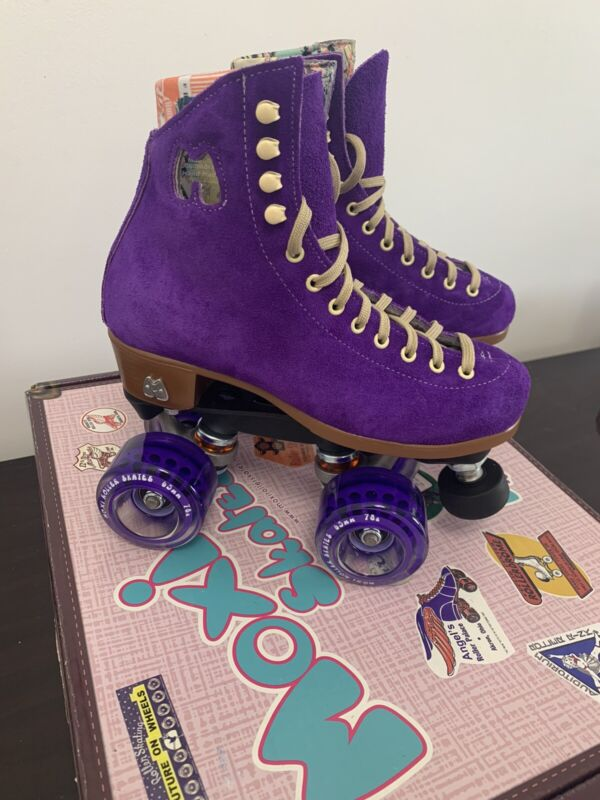 Moxi Roller Skates Lolly Complete Outdoor Taffy with Purple Wheels Sz 4 💜 New