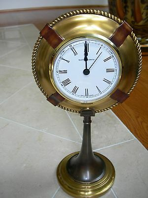 Maitland Smith Antique Brass Clock With Dark and Red Bronze Nautical Motif