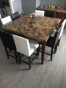 Granite Top Buffet And Large Square Table With 8 Chairs