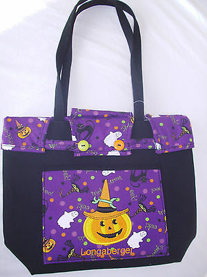 Halloween Party Shopper Tote Outside Pocket Purse Ghost Black Cat Spider Pumpkin