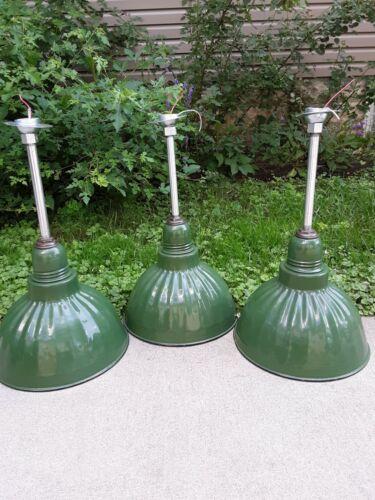 Set/3 Vintage/Antique Benjamin Electric Porcelain Industrial Warehouse Light