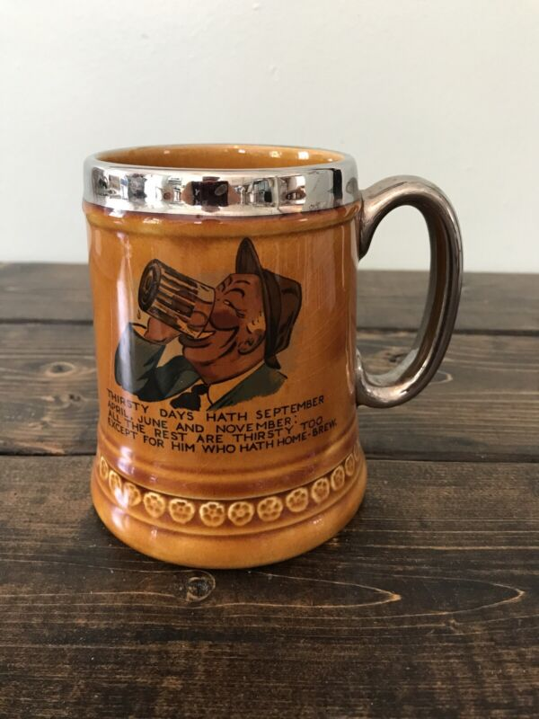 Vintage 1970 Lord Nelson Pottery England Beer Stein Mug Silver Trim Thirsty Days