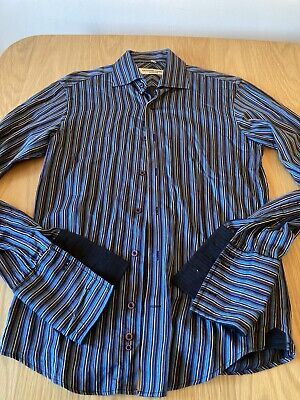 Katharine Hamnett men's formal shirt Size 15 Purple Yellow Black Blue Striped