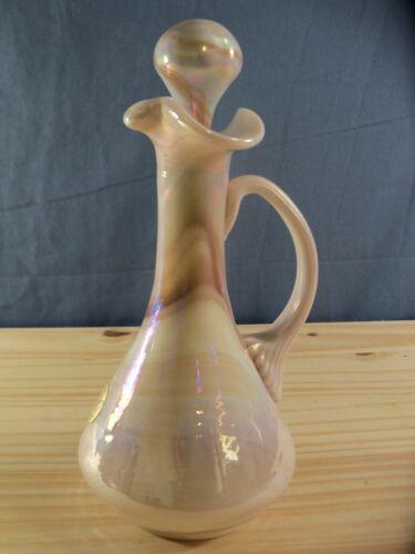 Gibson Art Glass Light Caramel Iridescent Slag Glass Cruet