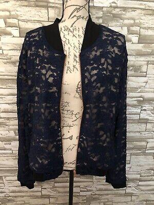 LuLaRoe Stevie Bomber Jacket Elegant Nwt 3XL Blue Lace Flower Print Sparkly Lace Print Jacket