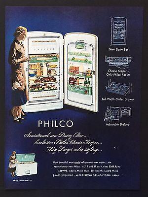 1952 Vintage Print Ad PHILCO Refrigerator Blue Illustration Food Woman