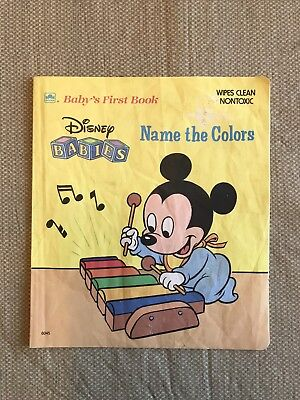 """1987 Disney Babies - Name the Colors """"Baby's First Book"""" Wipes Clean Vintage"""