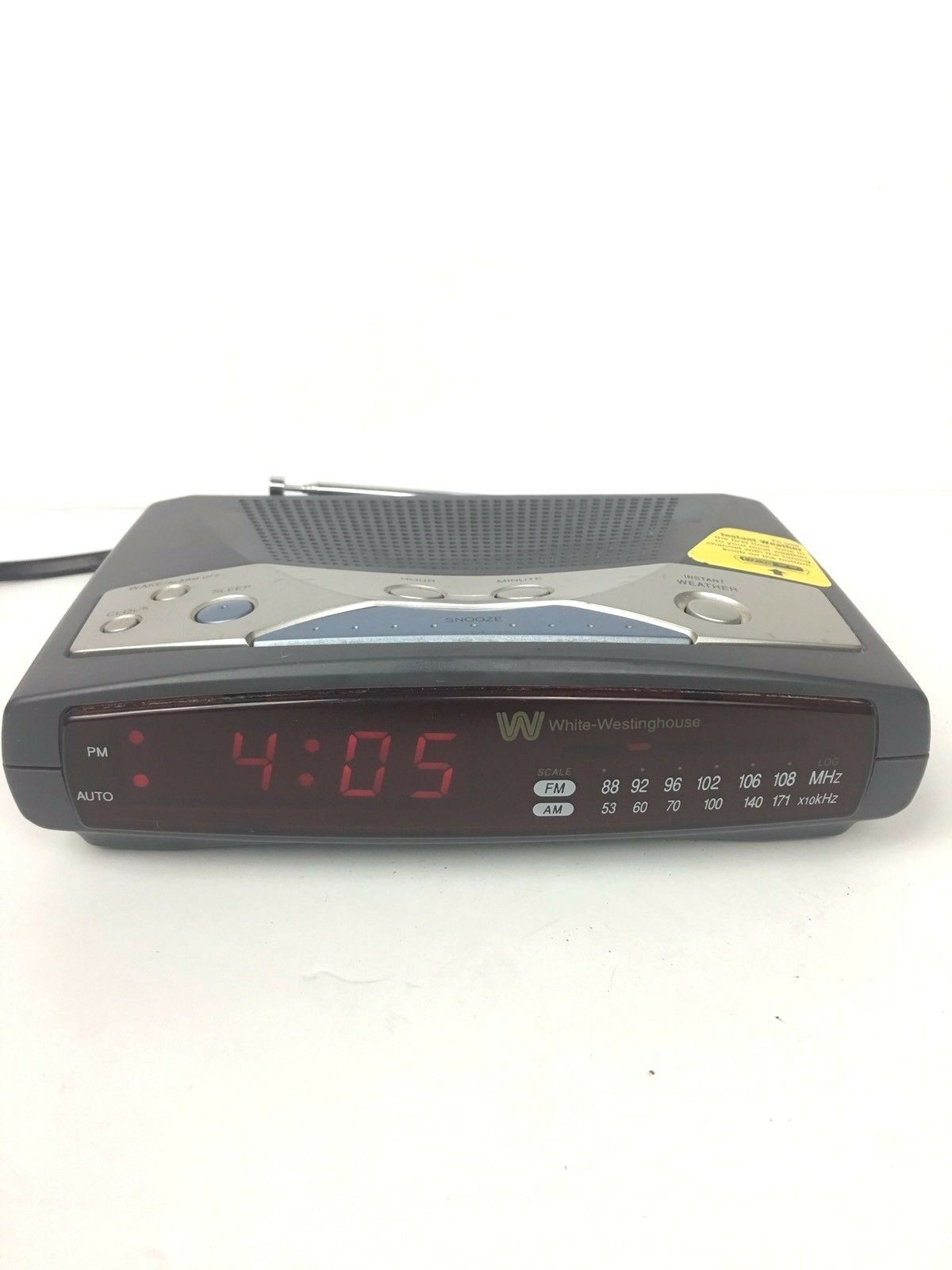 White-Westinghouse WCR-11549 AM/FM Instant Weather Digital Alarm Clock Radio