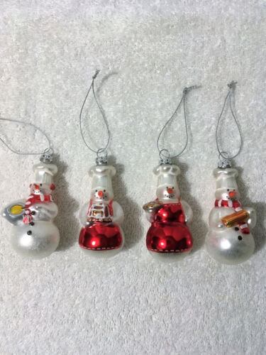 WILLIAMS SONOMA SNOWMAN CHEFS BLOWN GLASS ORNAMENTS Christmas Tree Snowmen