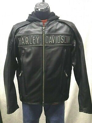 Harley Davidson Men's Large Reflective Road Warrior 3-in-1 Leather Jacket