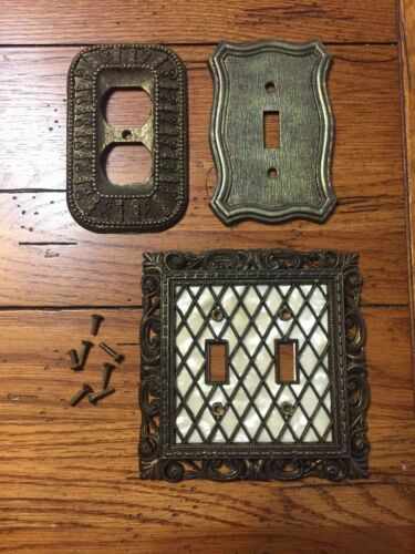 MISC. LOT OF 3 UNIQUE VINTAGE BRASS SWITCH PLUG PLATE COVERS... ORNATE DESIGNS