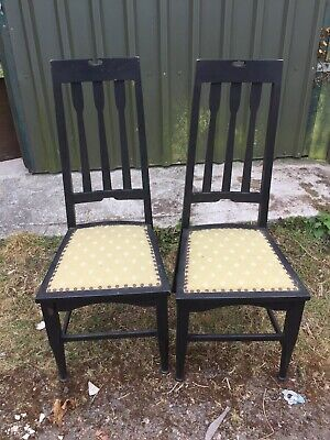 2 X Vintage Arts & Crafts Old Chairs Painted Black    27/4/H/LB