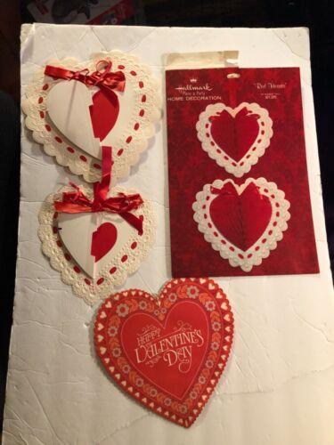 Vintage Hallmark Valentine Heart 3-D Honeycomb Crepe Paper Cardboard Diecut