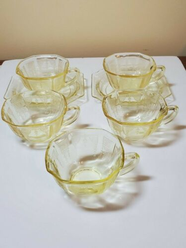 Anchor Hocking Princess Yellow Depression Glass 5 Cups, 2 Saucers, Grill Plate