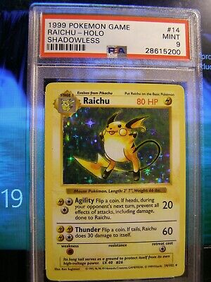 Pokemon Raichu PSA 9 Shadowless Holo Base Set # 14-102 MAJOR CARD