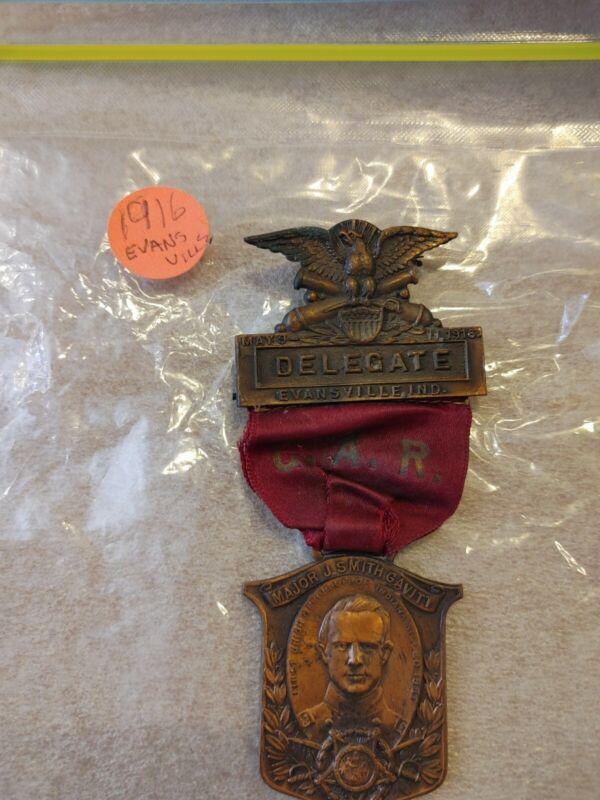 Civil War GAR 1916 Evansville Ind. Medalion and Ribbon.