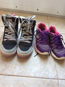 Girl high top air jordans size 5 and sketchers size 2