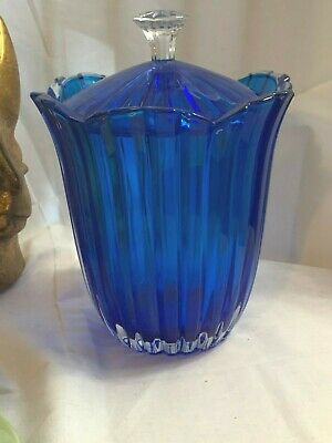 Vintage Cobalt Blue Flash Wide Rib Compote with (Cobalt Blue Flash)