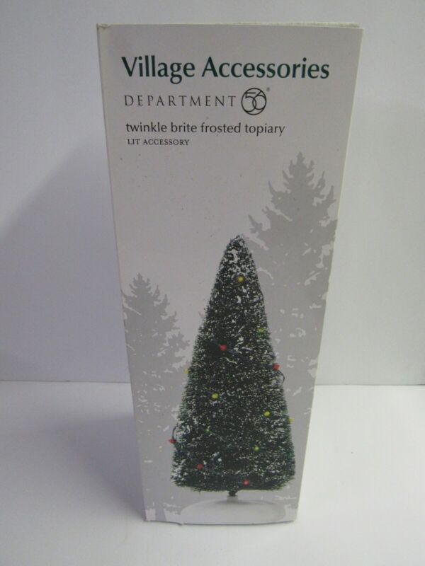 Dept 56 Village Accessories Twinkle Brite Frosted Topiary 810837 Torn Box