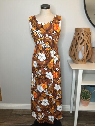 Vintage Royal Hawaiian Womens Maxi Dress 12 Brown Orange Floral Hibiscus