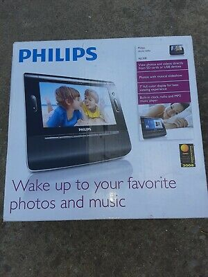 Philips Clock Radio AJL308 Alarm Photo Video Mp3 SD Window Media