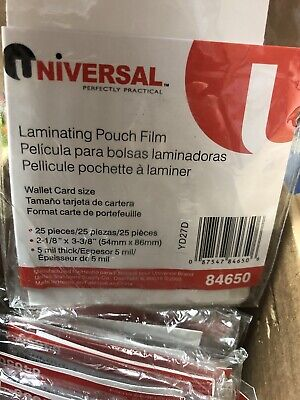 18 25 Packs Universal Clear Laminating Pouches 5 Mil 2-18 X 3-38 Card Size