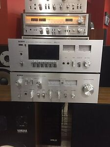 Vintage Yamaha amp and cassette deck and speakers