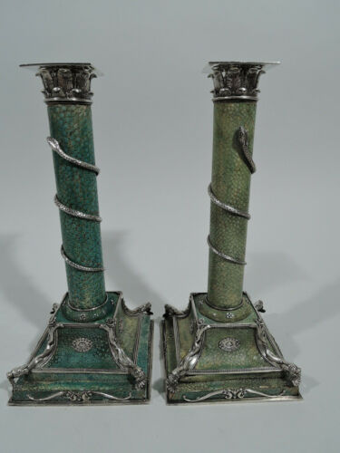 Antique Candlesticks - Corinthian Column Pair - European Silver Green Shagreen