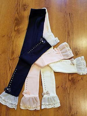 NWT girls frilly leggings size 6 BLUE