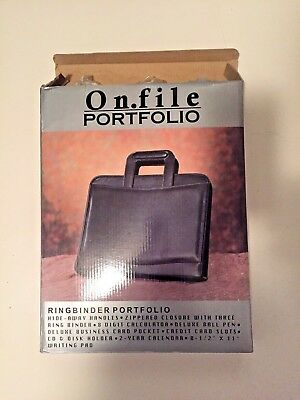 Black Leather Portfolioorgnizer New In Box Zippered Closure