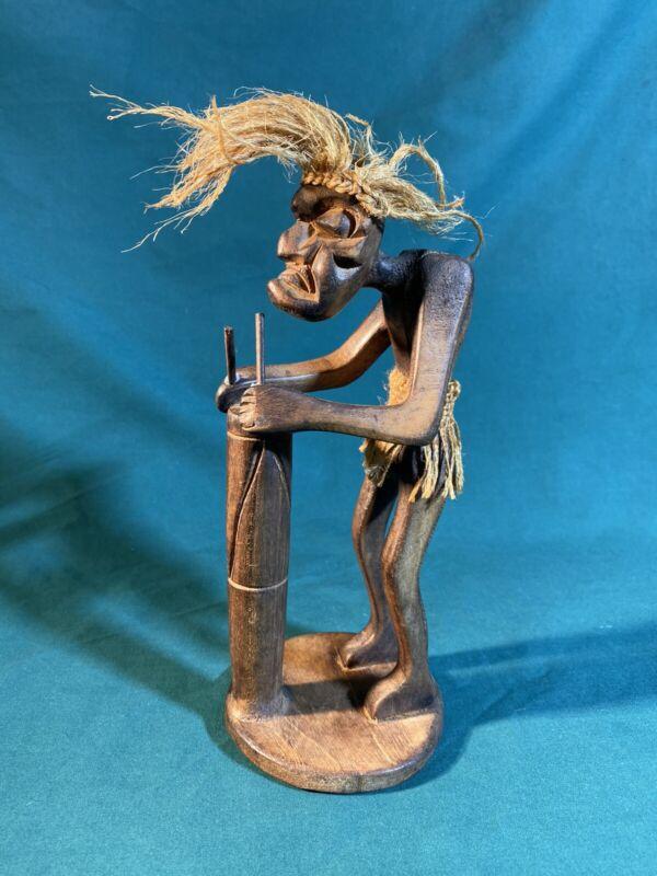 "Wooden Tiki Drummer Figure 8.5"" *see Description"