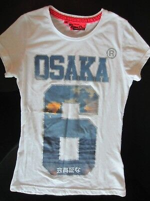WOMENS SUPERDRY OSAKA 6 WHITE TSHIRT KNIT TOP SHIRT BASIC GRAPHIC SMALL S