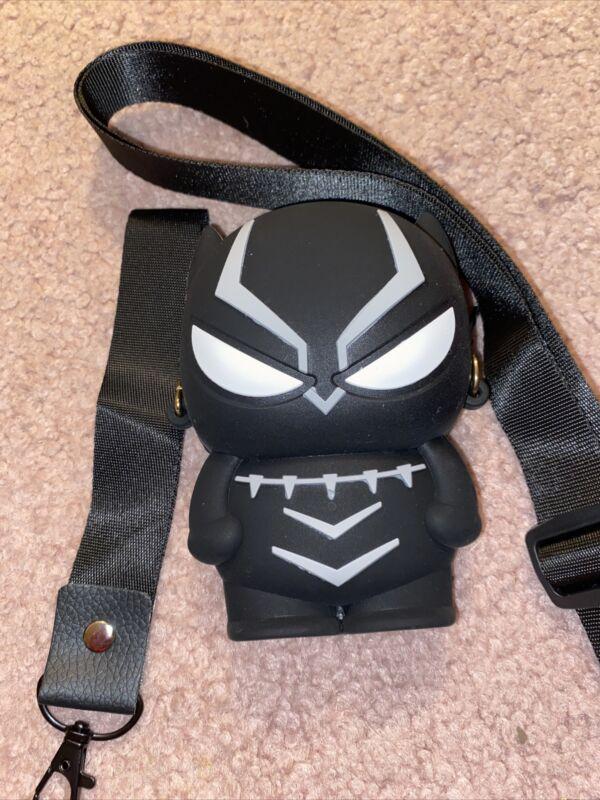 Black Panther Marvel rubber coin purse Wrist  two straps disney parks 5x4
