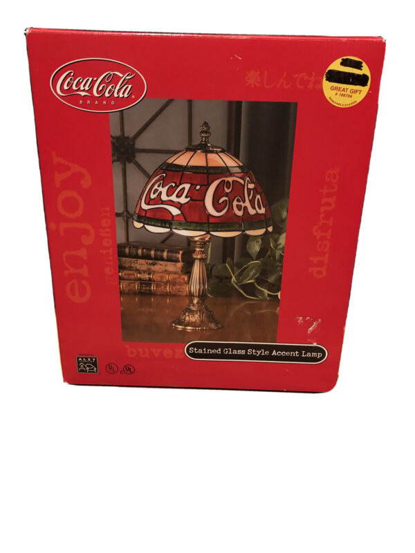 Coca Cola Stained Glass Style Accent Lamp In Original Box NEW