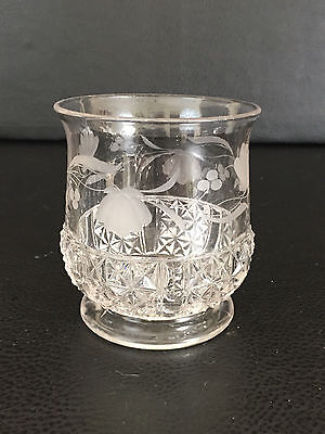 Antique U.S. Glass Co. pressed glass sugar bowl, PANELED DIAMOND CROSS, c.1891
