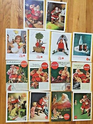 Lot of 14 Coke Christmas Santa Claus ads National Geographic 1930-60