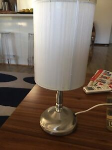 Silver lamp with white silk shade Halls Head Mandurah Area Preview