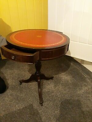 Vintage Round Drum Table,  Red Leather Top, Drawers, Metal Claw feet Needs TLC