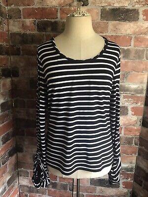 Karen Millen Black White Stripe Top Bell Sleeve Size 12 14