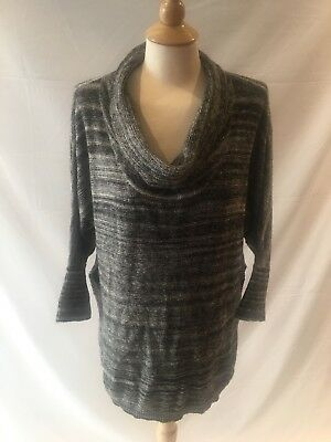 Field Flower Anthropologie Women's Gray Striped Side Split Cowl Neck Sweater S