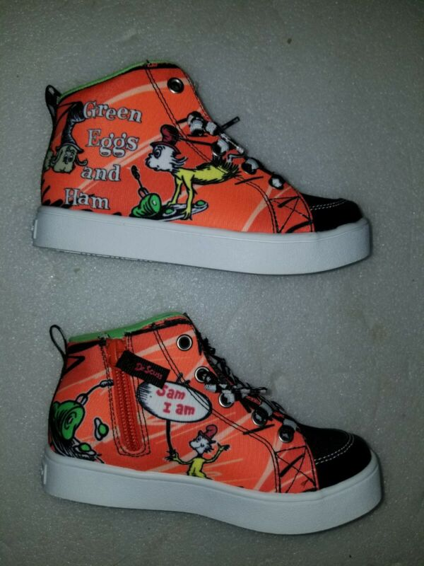 NWT Skechers Dr Seuss Green Eggs And Ham High Top Skater Sneakers Toddler sz 10