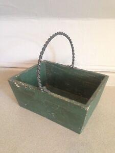 Vintage Primitive Pine Basket With Iron (Rebar) Handle