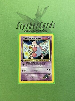 NM Sabrina's Mr. Mime 1st Edition Gym Heroes Pokemon Card + Sleeve...