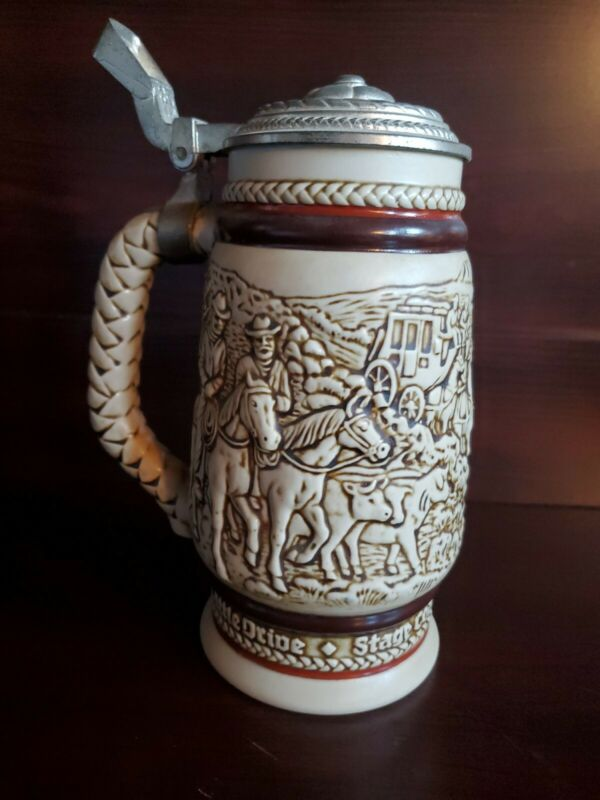 Vintage Avon Handcrafted 1980 Beer Stein 97569 Cattle Drive Stage Coach Roping!