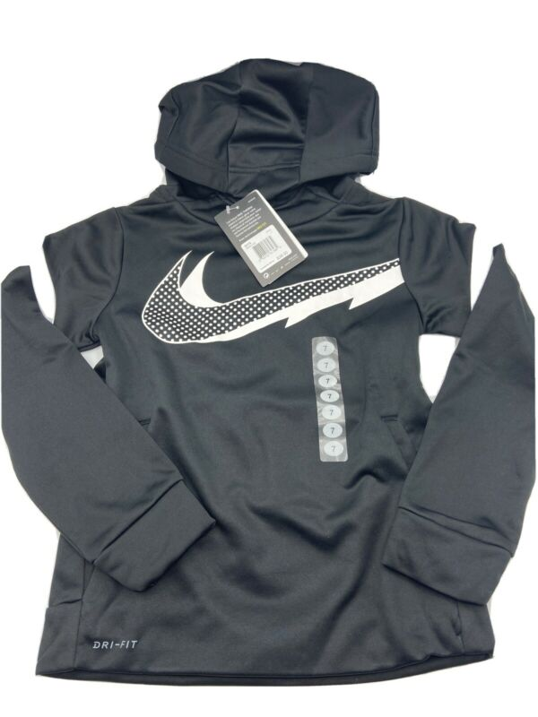 Nike Therma Dri Fit Fleece Lined Hoodie Size 7 Boys - Black and White - New!